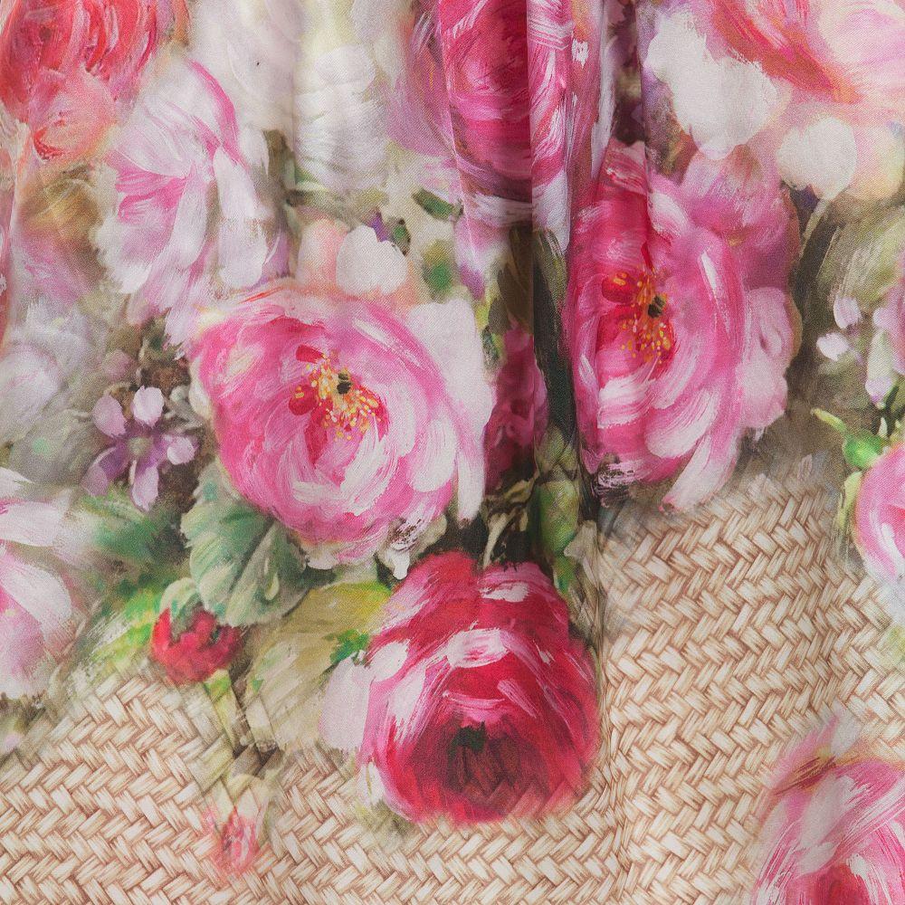 Monnalisa Chic Vintage Rose Print Watercolour Silk Dress