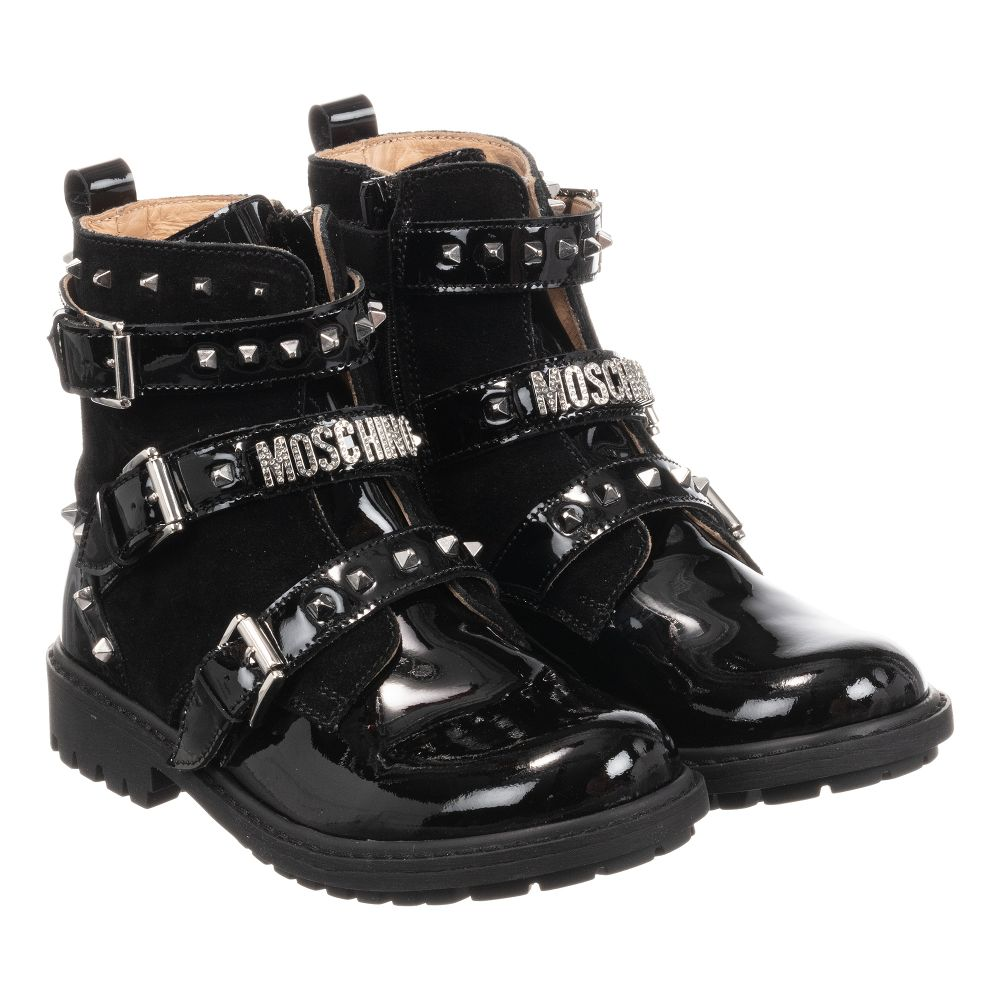 Childrensalon Biker Outlet Moschino Leather Boots teenBlack Number Product Kid 277202 nv08OwmNyP