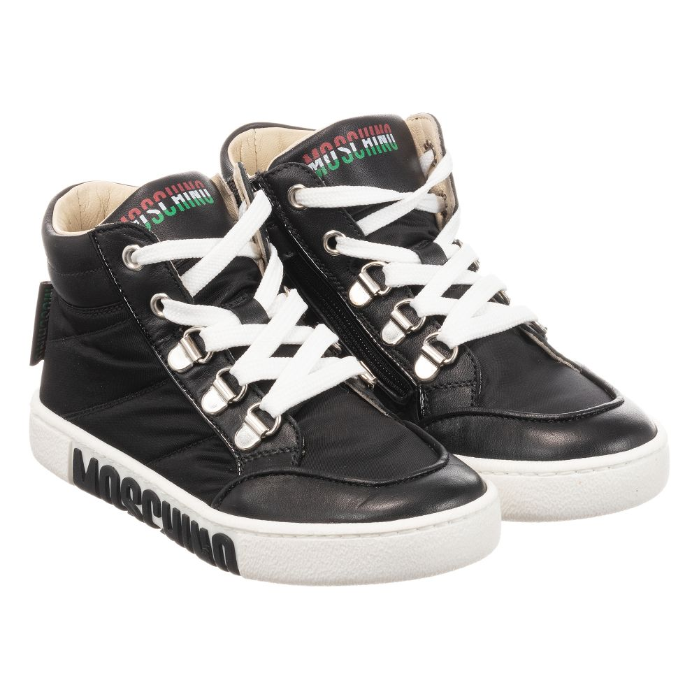Leather Outlet Number teenBoys Black Kid 277210 Trainers Product Childrensalon Moschino sCQBtdhrx
