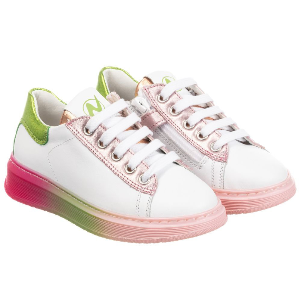 girls all white trainers