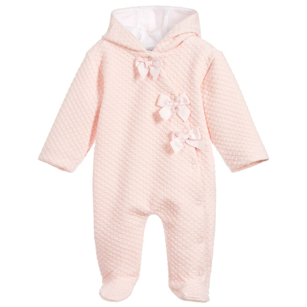 Girls Pink Bows Pramsuit
