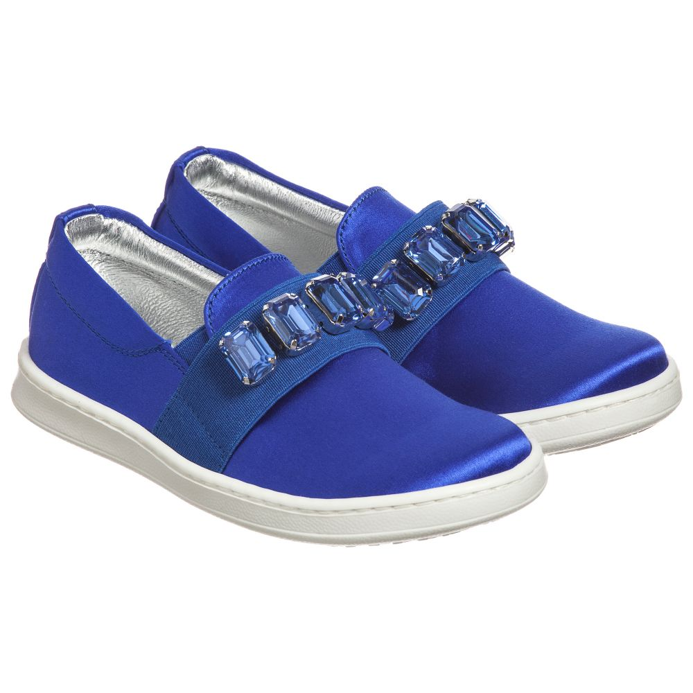 Number Outlet Slip on QuisGirls Satin Blue Shoes Childrensalon Product 172202 E2IYbeW9DH
