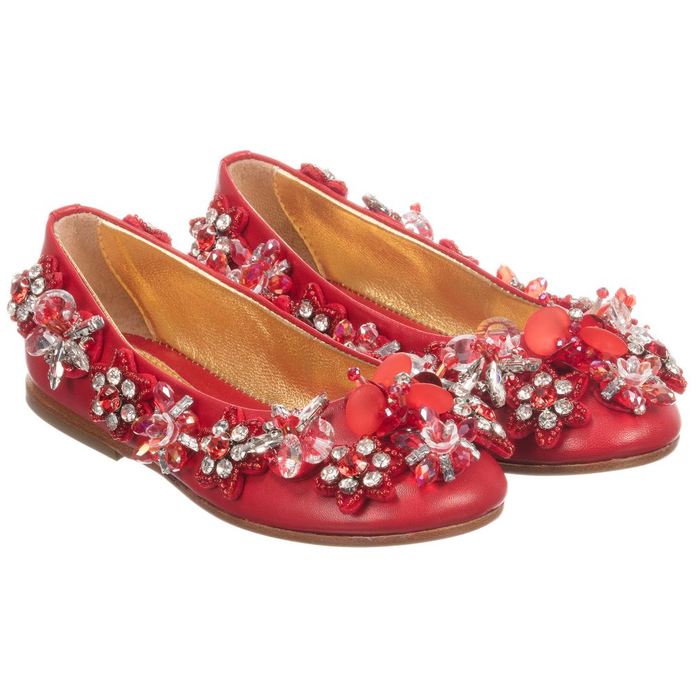 Childrensalon Outlet Beaded Red Shoes QuisGirls 186784 Product Number 5A3qj4LR