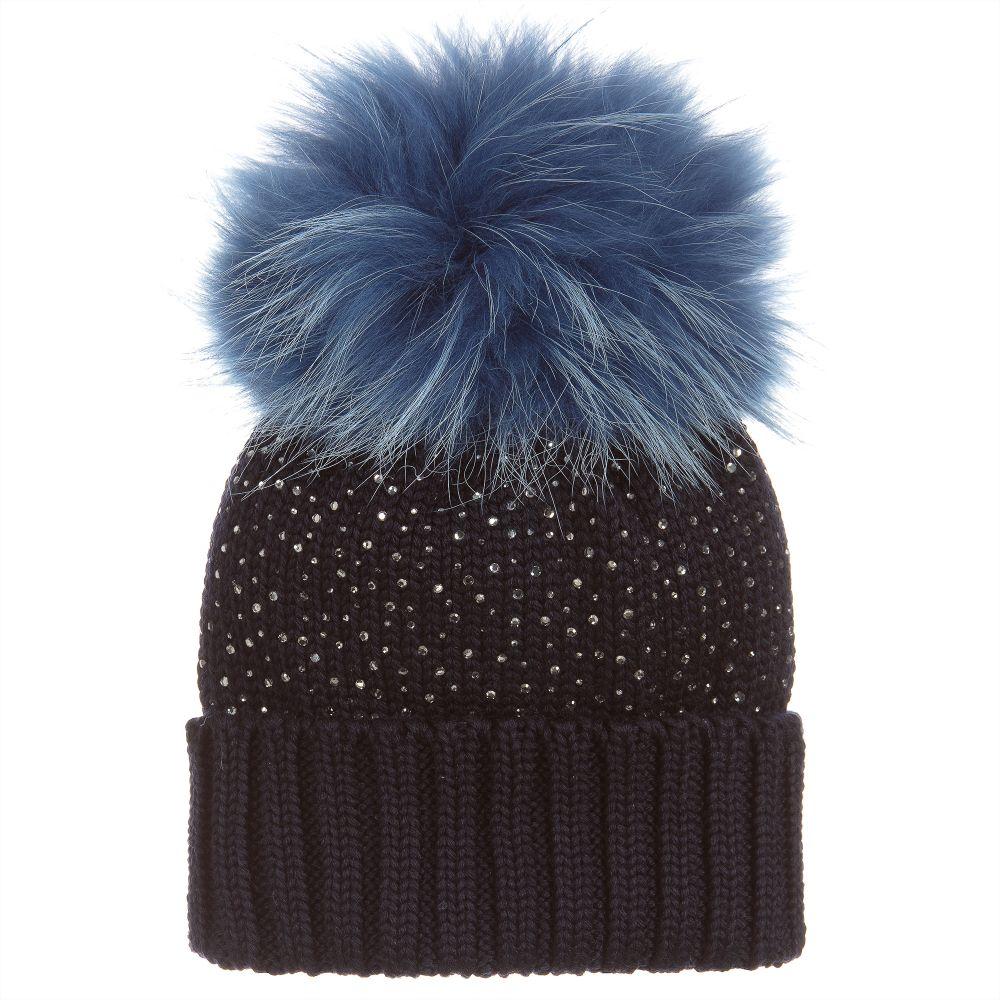 02a9c4a56d4 Regina - Navy Blue Pom-Pom Hat