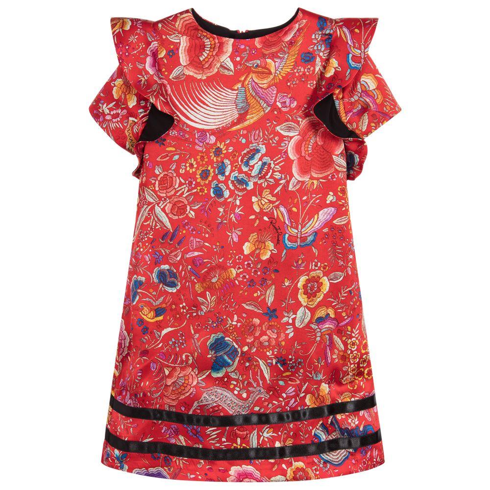 4d5e52d3e719 Roberto Cavalli - Girls Red Floral Silk Dress | Childrensalon Outlet