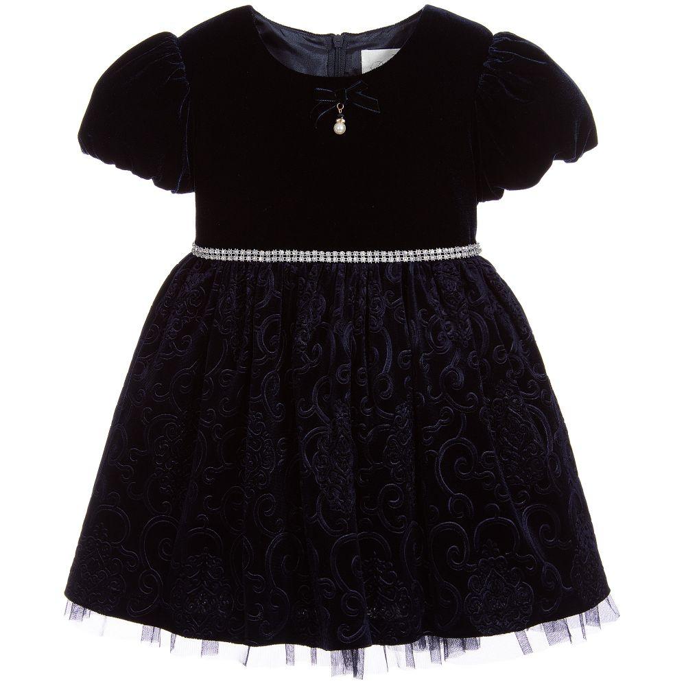5f3400e74b2 Romano Princess - Girls Navy Blue Velvet Dress