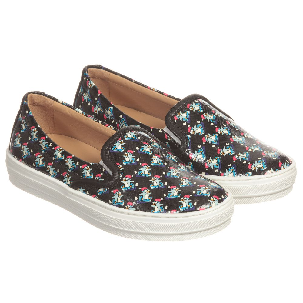 Penguin Trainers Black Salvatore Ferragamo Number 133063 Childrensalon Outlet MiniGirls Print Product VpUzqSM