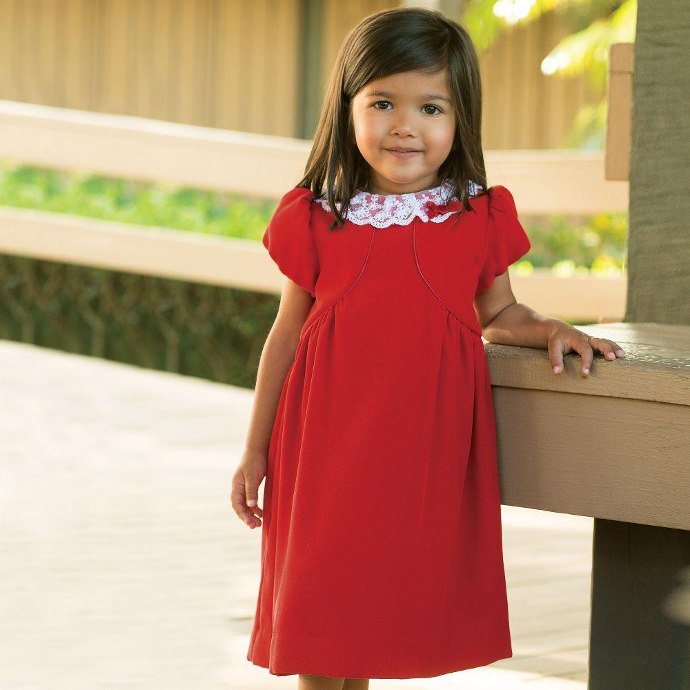 e9e89f20fb4 Sarah Louise - Girls Red Velvet Dress