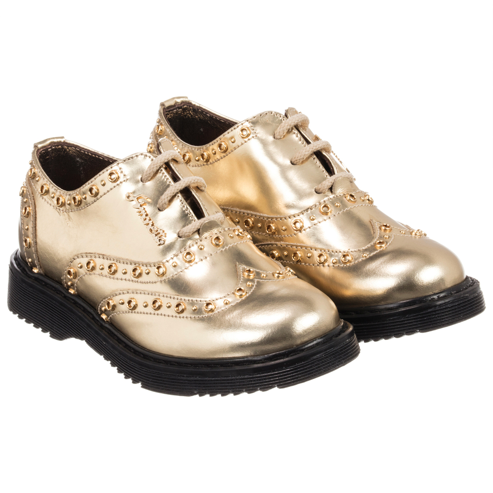 Leather 186767 Number Outlet SimonettaGirls Gold Brogues Childrensalon Product dxoeCWrB