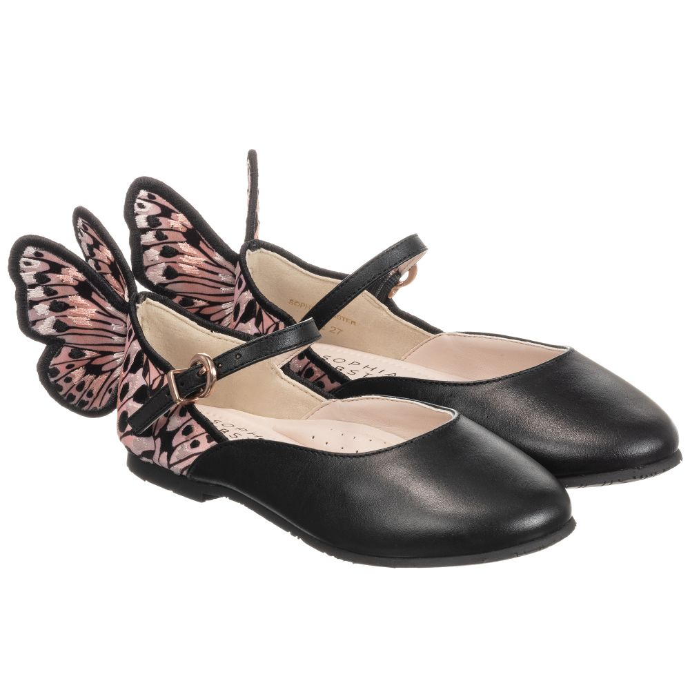 Girls Black Butterfly Shoes