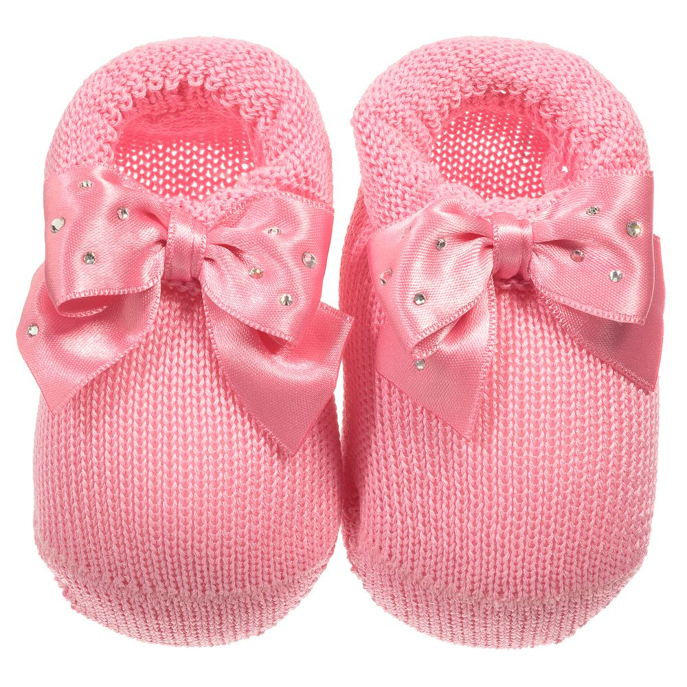e72cf4df310 Story Loris - Baby Girls Pink Booties with Bows