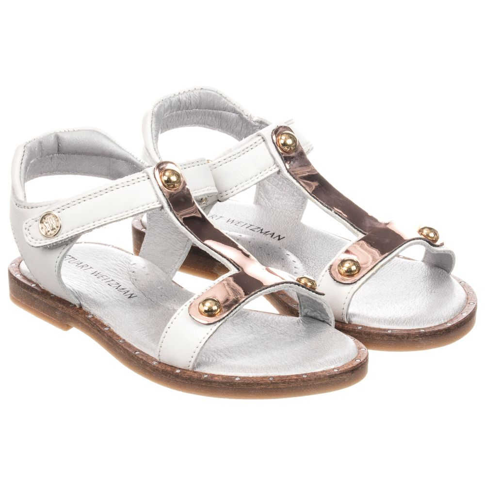 Leather Number Stuart White Outlet Product WeitzmanGirls Childrensalon 255196 Sandals NmnOv80w