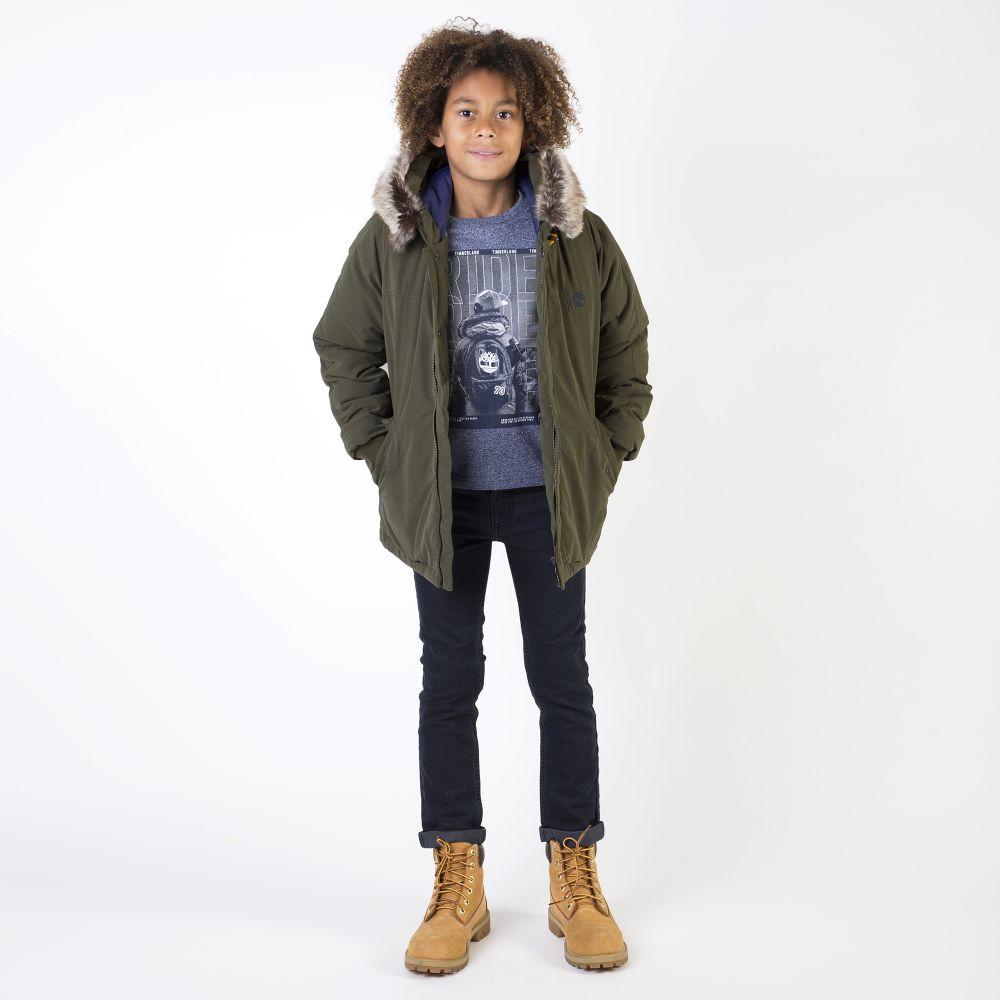incondicional diseñador subtítulo  Timberland - Boys Green Hooded Coat | Childrensalon Outlet