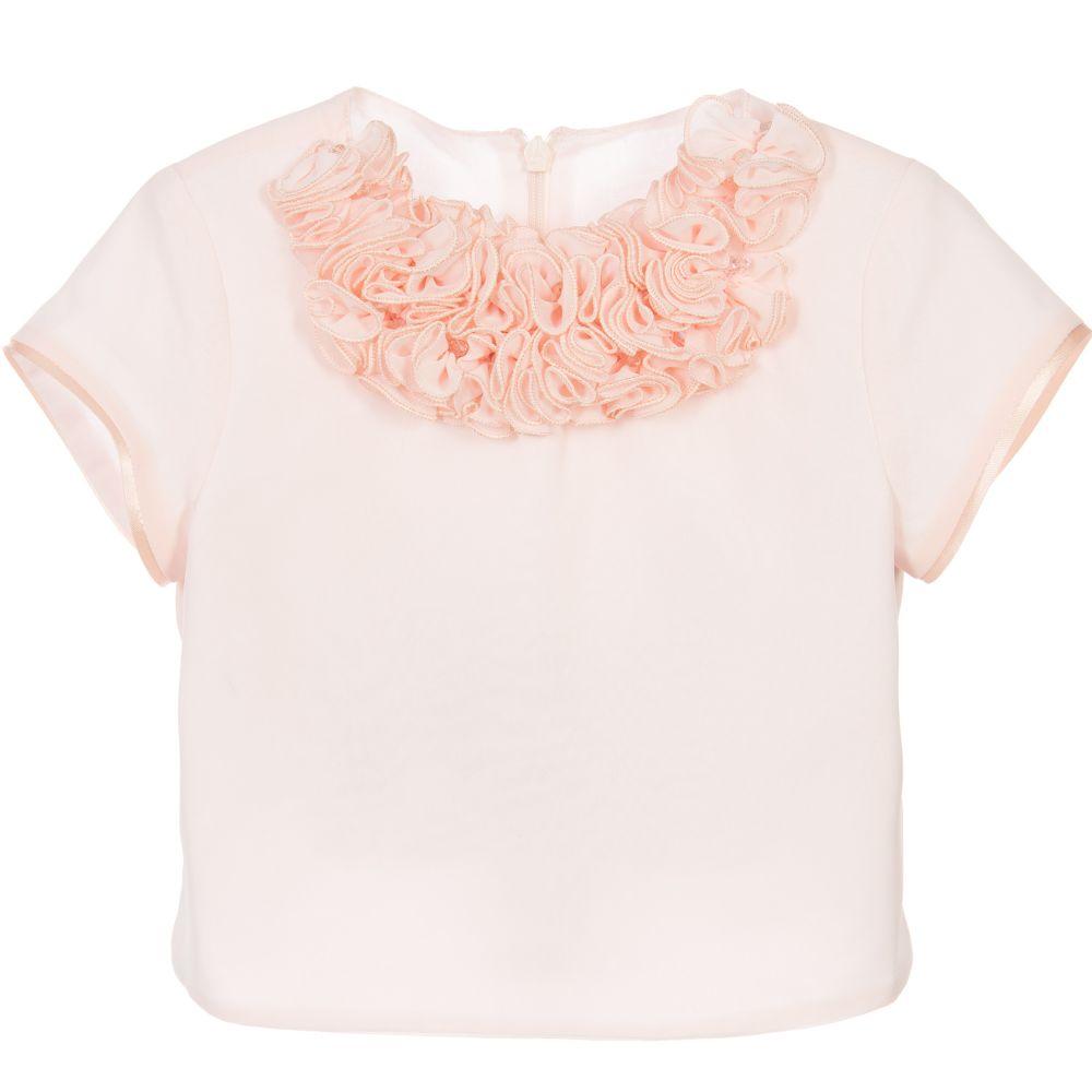 e4a7ecd858021b ValMax - Girls Peach Organza Ruffle Top | Childrensalon Outlet