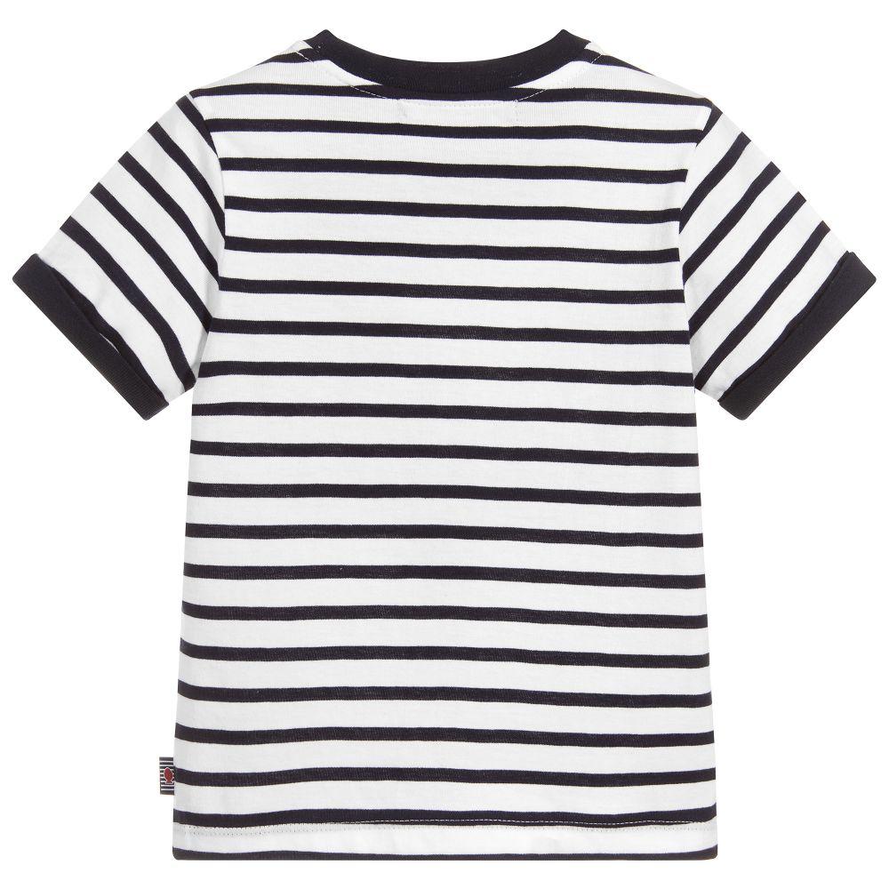 Boys White with Black Stripe Cotton T Shirt