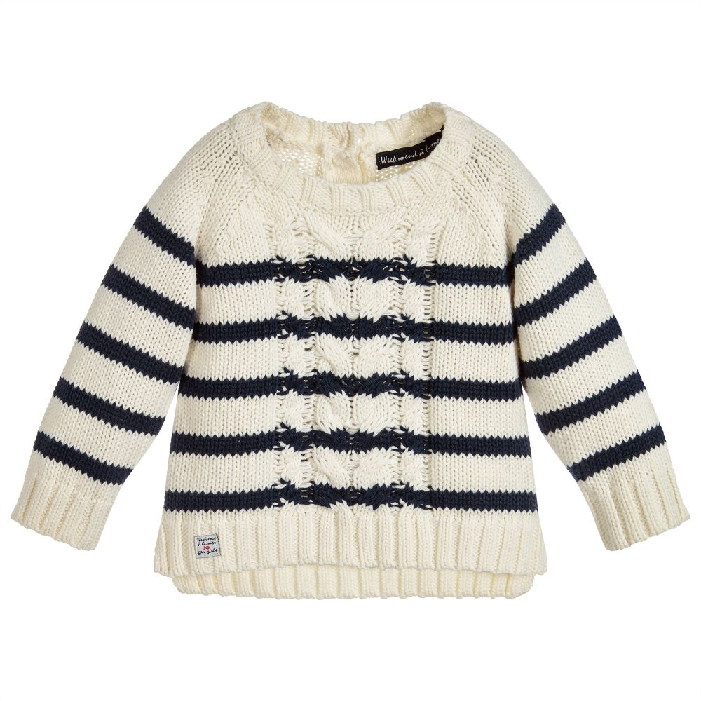 db015101d Week-end à la mer - Girls Knitted Cotton Sweater