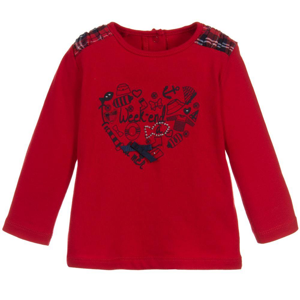 50f1ef10d Week-end à la mer - Girls Red Cotton Jersey Top