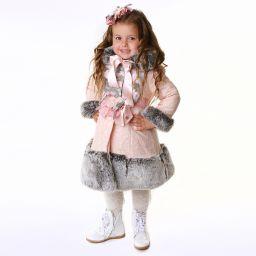 e9b752af3999 Little Darlings - Girls Pink Faux Fur Trim Coat