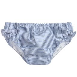 Piccola Ludo Blue White Linen Knickers Childrensalon Outlet