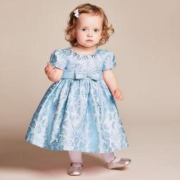 a33fbcea1550 Romano Princess - Baby Girls Blue Brocade Dress with Diamanté |  Childrensalon Outlet
