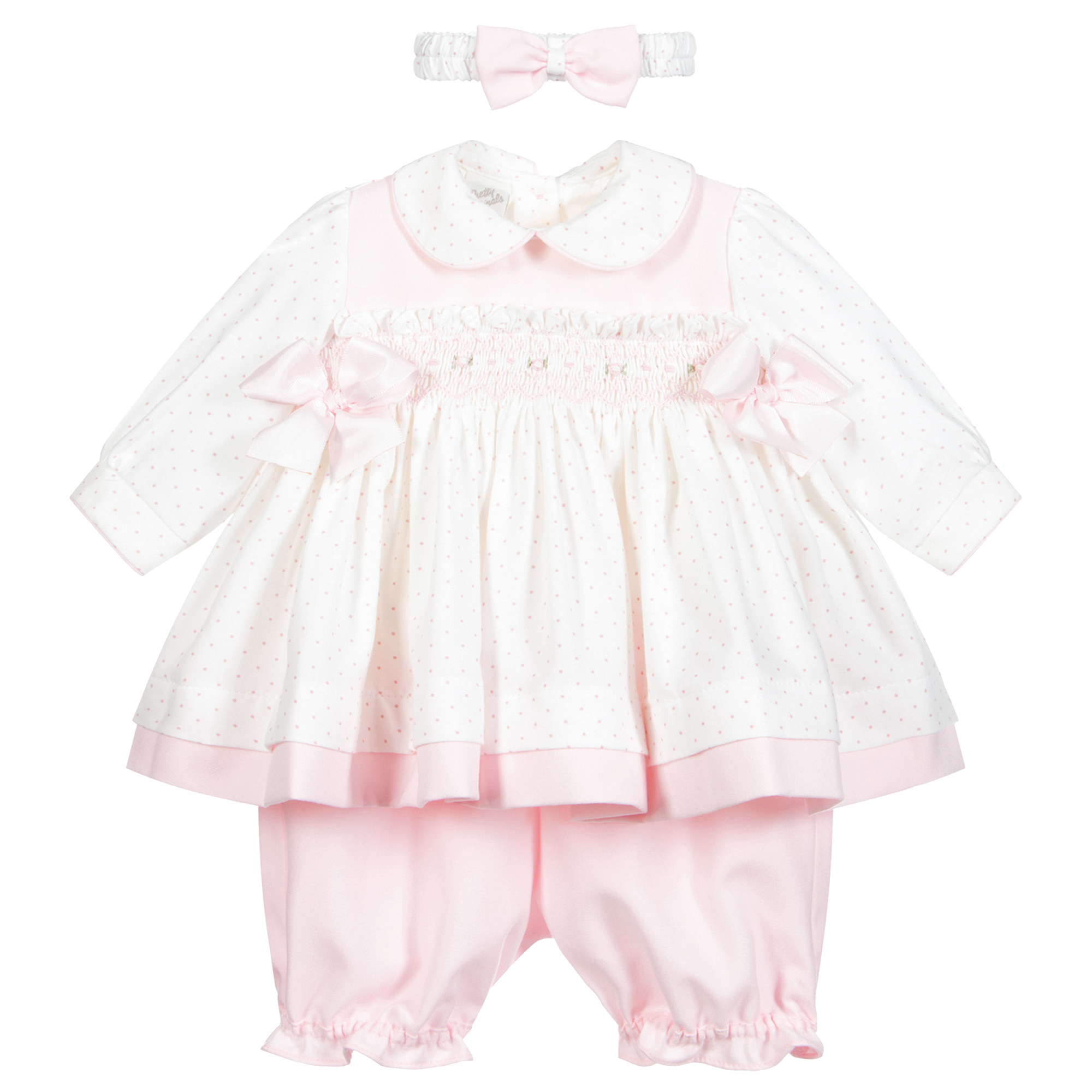 Pretty Originals Baby Girls Pink /& White Set 4 Sizes Brand New With Tags
